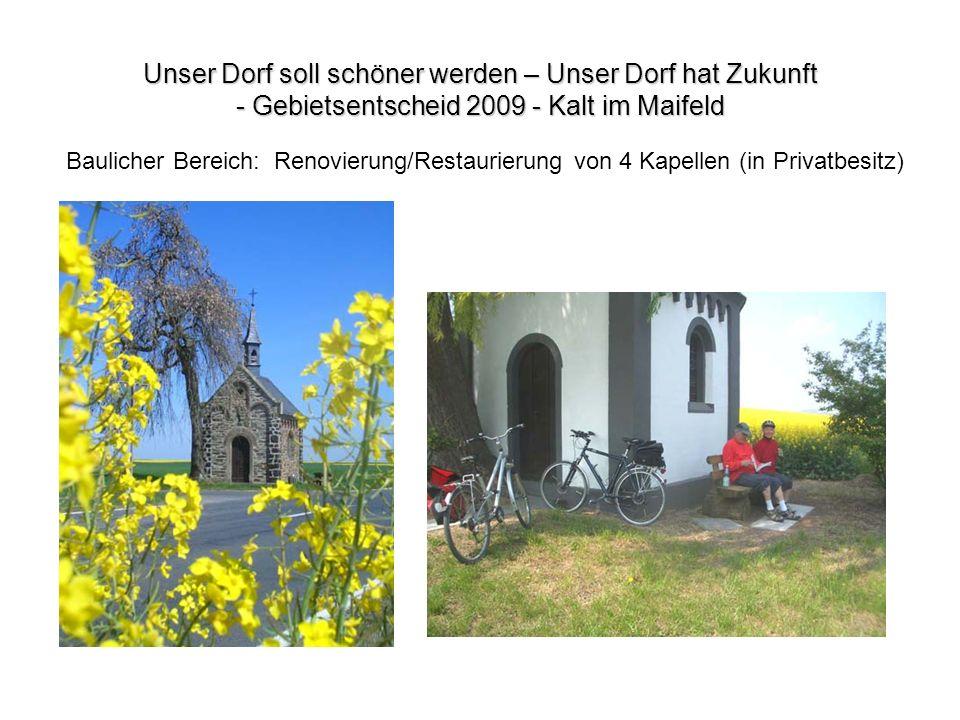 Baulicher Bereich: Renovierung/Restaurierung von 4 Kapellen (in Privatbesitz)