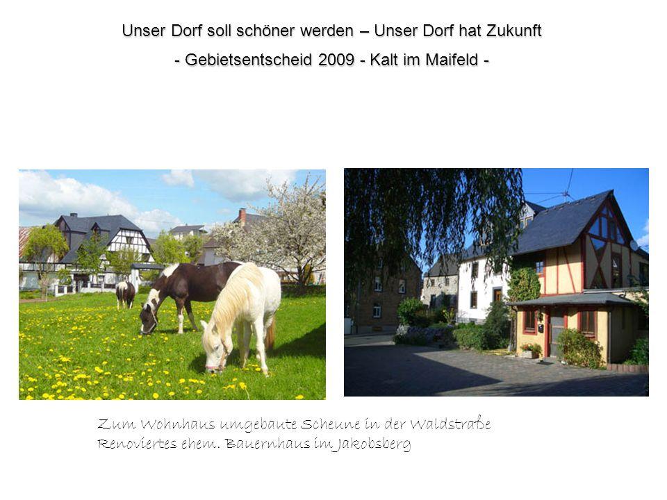 Unser Dorf soll schöner werden – Unser Dorf hat Zukunft - Gebietsentscheid 2009 - Kalt im Maifeld - Zum Wohnhaus umgebaute Scheune in der Waldstraße R