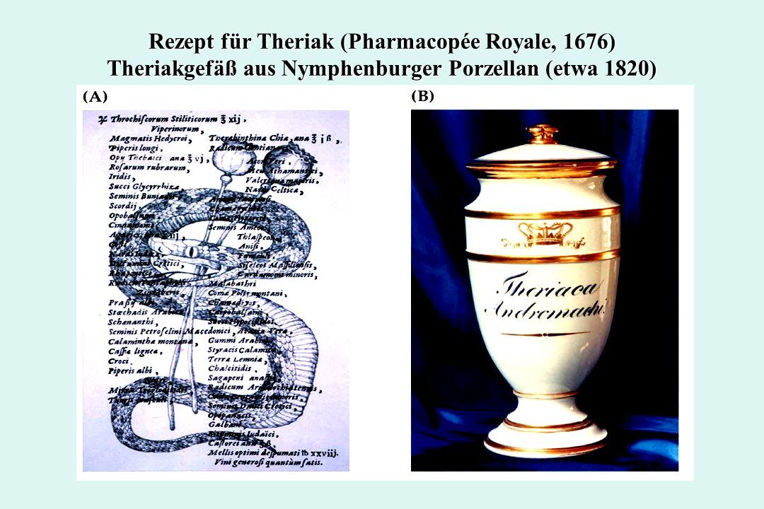 Zur Geschichte der Alkaloide und ihrer Erforschung Über Jahrhunderte hinweg war das Opium König unter den Medizinalstoffen; weit verbreitet war der Genuss von Theriak, eine appetitliche Mischung von Opium mit getrocknetem Schlangenfleisch (!) und Wein, sowie weiteren pflanzlichen, tierischen und mineralischen Anteilen.