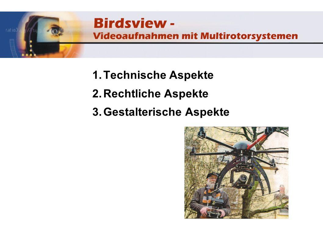 Technische Aspekte Kopter besteht aus Rahmen mit 4-8 Rotoren Lipo-Akku Steuereinheit mit Sensoren Fernsteuerung (8-12 Kanal) (Sender u.