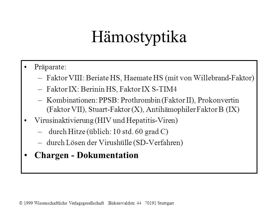 © 1999 Wissenschaftliche Verlagsgesellschaft Birkenwaldstr. 44 70191 Stuttgart Hämostyptika Präparate: –Faktor VIII: Beriate HS, Haemate HS (mit von W