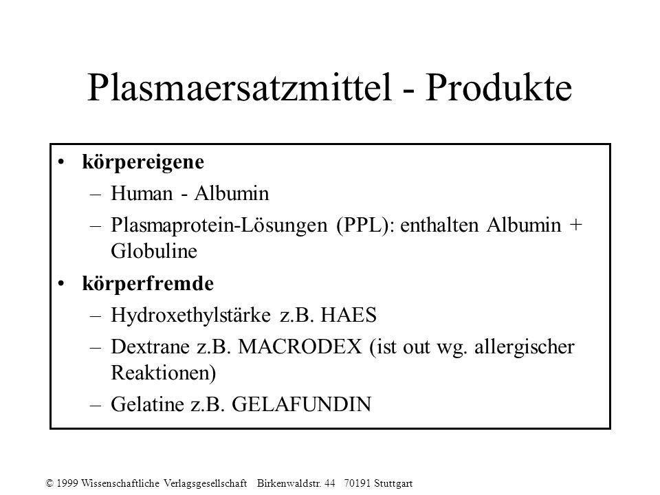 © 1999 Wissenschaftliche Verlagsgesellschaft Birkenwaldstr. 44 70191 Stuttgart Plasmaersatzmittel - Produkte körpereigene –Human - Albumin –Plasmaprot