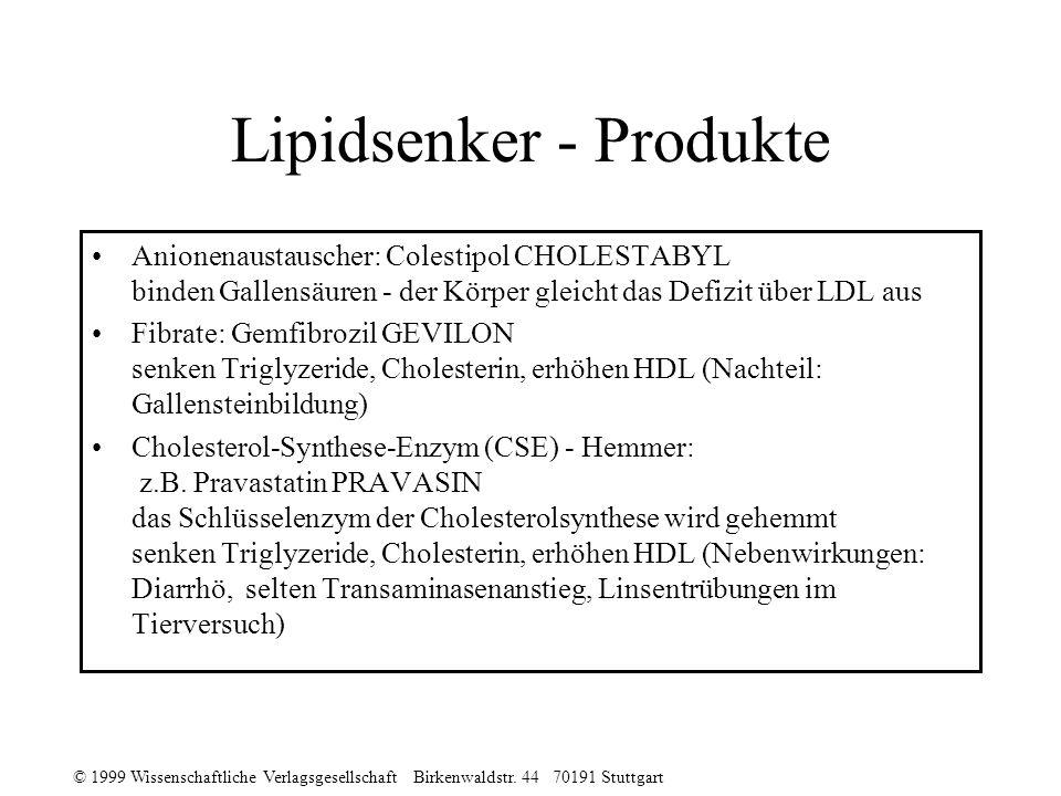 © 1999 Wissenschaftliche Verlagsgesellschaft Birkenwaldstr. 44 70191 Stuttgart Lipidsenker - Produkte Anionenaustauscher: Colestipol CHOLESTABYL binde