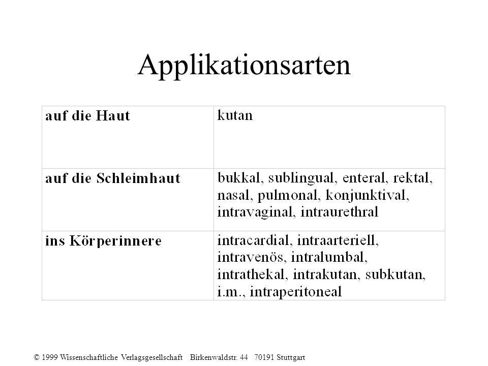 © 1999 Wissenschaftliche Verlagsgesellschaft Birkenwaldstr. 44 70191 Stuttgart Applikationsarten