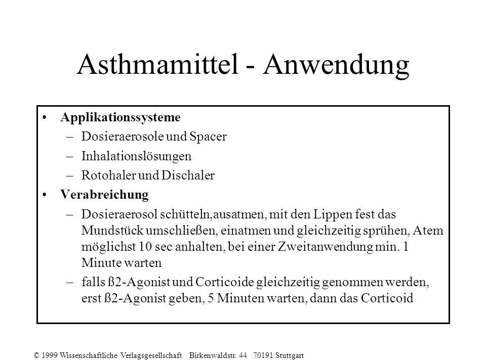© 1999 Wissenschaftliche Verlagsgesellschaft Birkenwaldstr. 44 70191 Stuttgart Asthmamittel - Anwendung Applikationssysteme –Dosieraerosole und Spacer