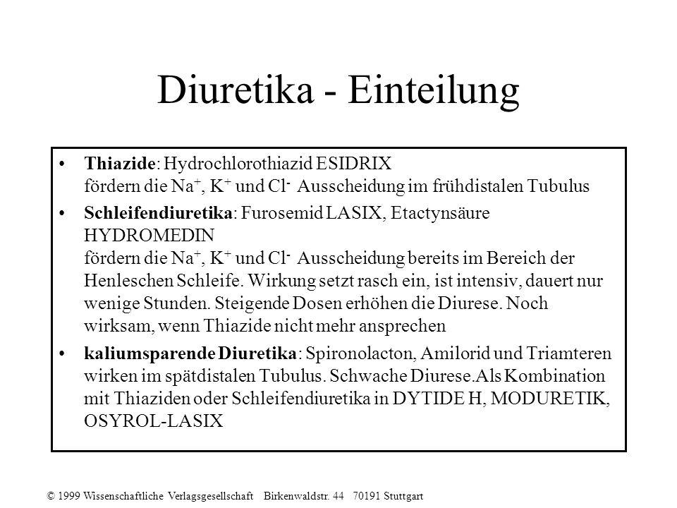 © 1999 Wissenschaftliche Verlagsgesellschaft Birkenwaldstr. 44 70191 Stuttgart Diuretika - Einteilung Thiazide: Hydrochlorothiazid ESIDRIX fördern die