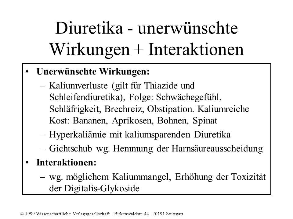 © 1999 Wissenschaftliche Verlagsgesellschaft Birkenwaldstr. 44 70191 Stuttgart Diuretika - unerwünschte Wirkungen + Interaktionen Unerwünschte Wirkung
