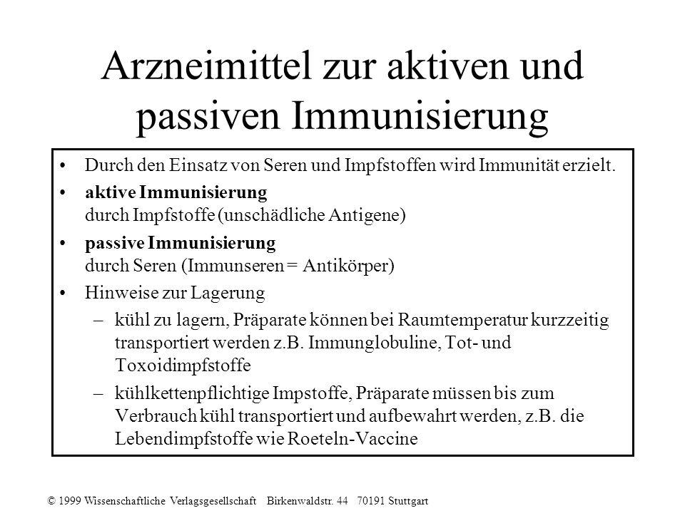 © 1999 Wissenschaftliche Verlagsgesellschaft Birkenwaldstr. 44 70191 Stuttgart Arzneimittel zur aktiven und passiven Immunisierung Durch den Einsatz v