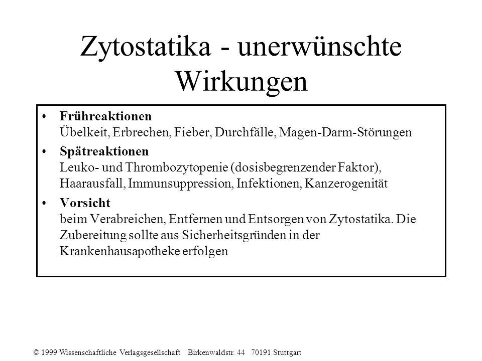 © 1999 Wissenschaftliche Verlagsgesellschaft Birkenwaldstr. 44 70191 Stuttgart Zytostatika - unerwünschte Wirkungen Frühreaktionen Übelkeit, Erbrechen
