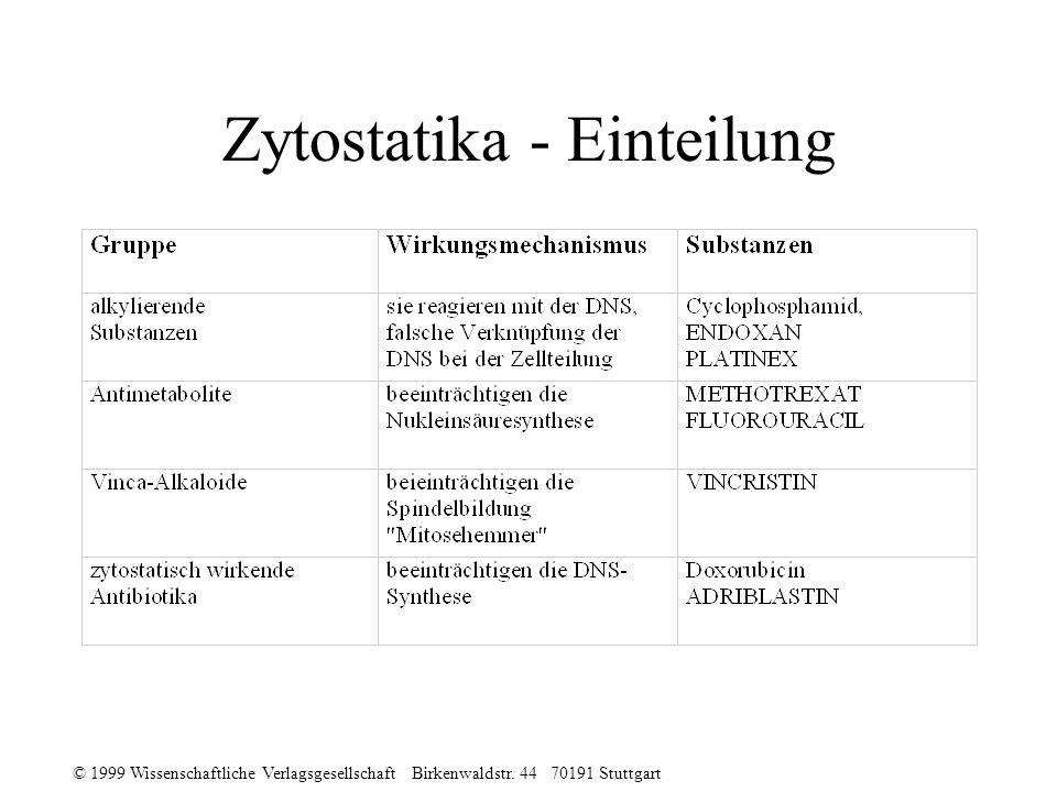 © 1999 Wissenschaftliche Verlagsgesellschaft Birkenwaldstr. 44 70191 Stuttgart Zytostatika - Einteilung