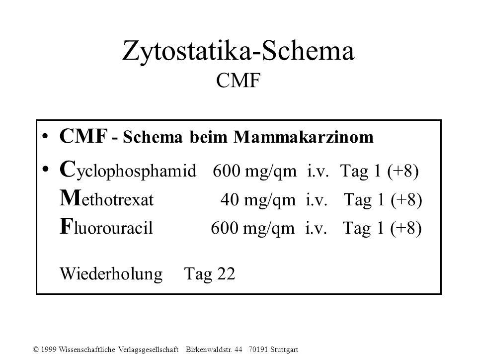 © 1999 Wissenschaftliche Verlagsgesellschaft Birkenwaldstr. 44 70191 Stuttgart Zytostatika-Schema CMF CMF - Schema beim Mammakarzinom C yclophosphamid