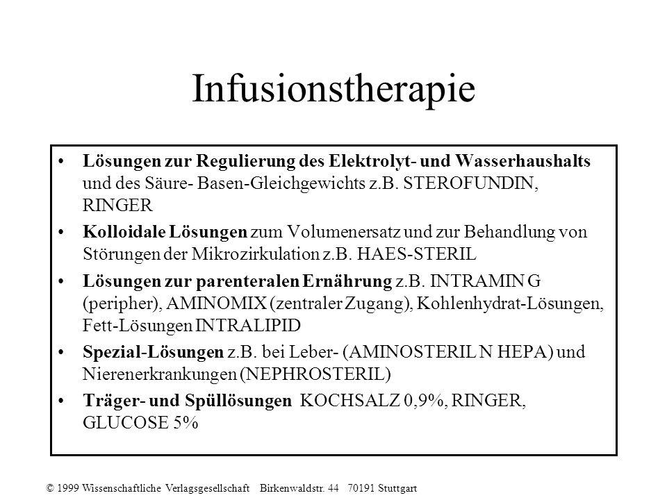 © 1999 Wissenschaftliche Verlagsgesellschaft Birkenwaldstr. 44 70191 Stuttgart Infusionstherapie Lösungen zur Regulierung des Elektrolyt- und Wasserha