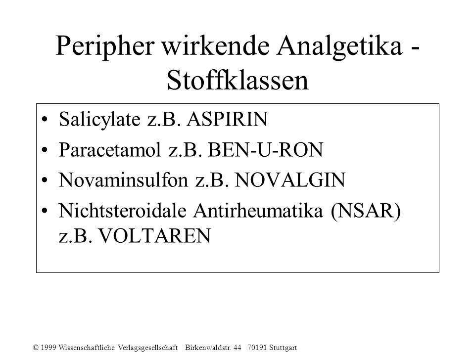 © 1999 Wissenschaftliche Verlagsgesellschaft Birkenwaldstr. 44 70191 Stuttgart Peripher wirkende Analgetika - Stoffklassen Salicylate z.B. ASPIRIN Par