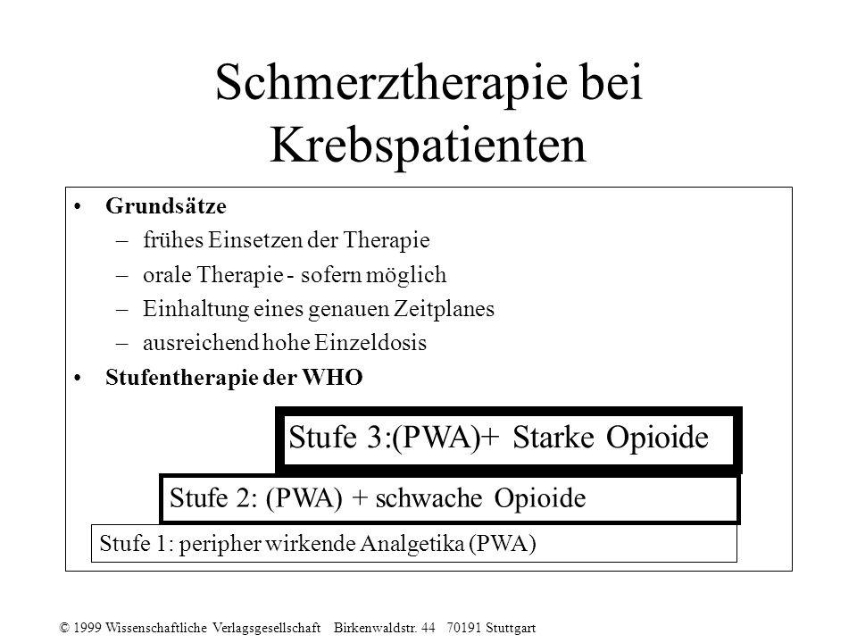 © 1999 Wissenschaftliche Verlagsgesellschaft Birkenwaldstr. 44 70191 Stuttgart Schmerztherapie bei Krebspatienten Grundsätze –frühes Einsetzen der The