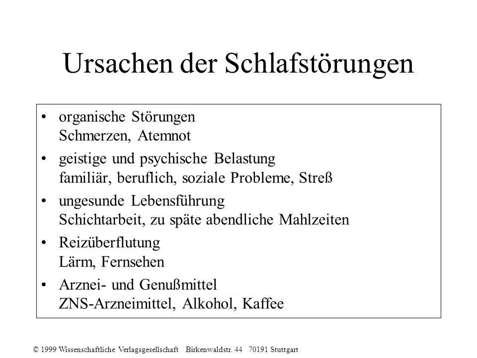 © 1999 Wissenschaftliche Verlagsgesellschaft Birkenwaldstr. 44 70191 Stuttgart Ursachen der Schlafstörungen organische Störungen Schmerzen, Atemnot ge