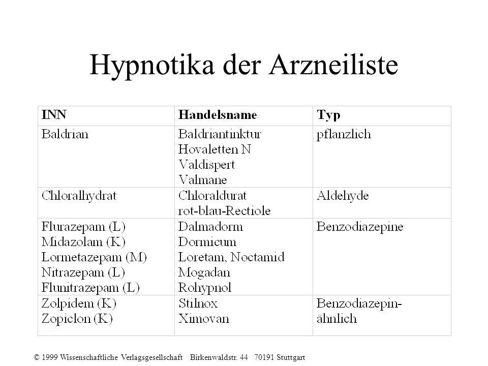 © 1999 Wissenschaftliche Verlagsgesellschaft Birkenwaldstr. 44 70191 Stuttgart Hypnotika der Arzneiliste