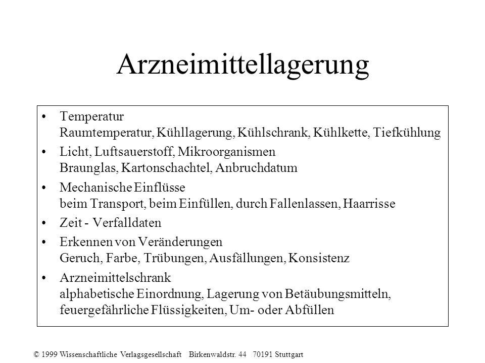 © 1999 Wissenschaftliche Verlagsgesellschaft Birkenwaldstr. 44 70191 Stuttgart Arzneimittellagerung Temperatur Raumtemperatur, Kühllagerung, Kühlschra