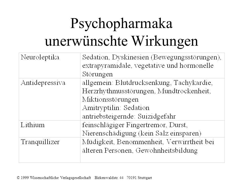 © 1999 Wissenschaftliche Verlagsgesellschaft Birkenwaldstr. 44 70191 Stuttgart Psychopharmaka unerwünschte Wirkungen