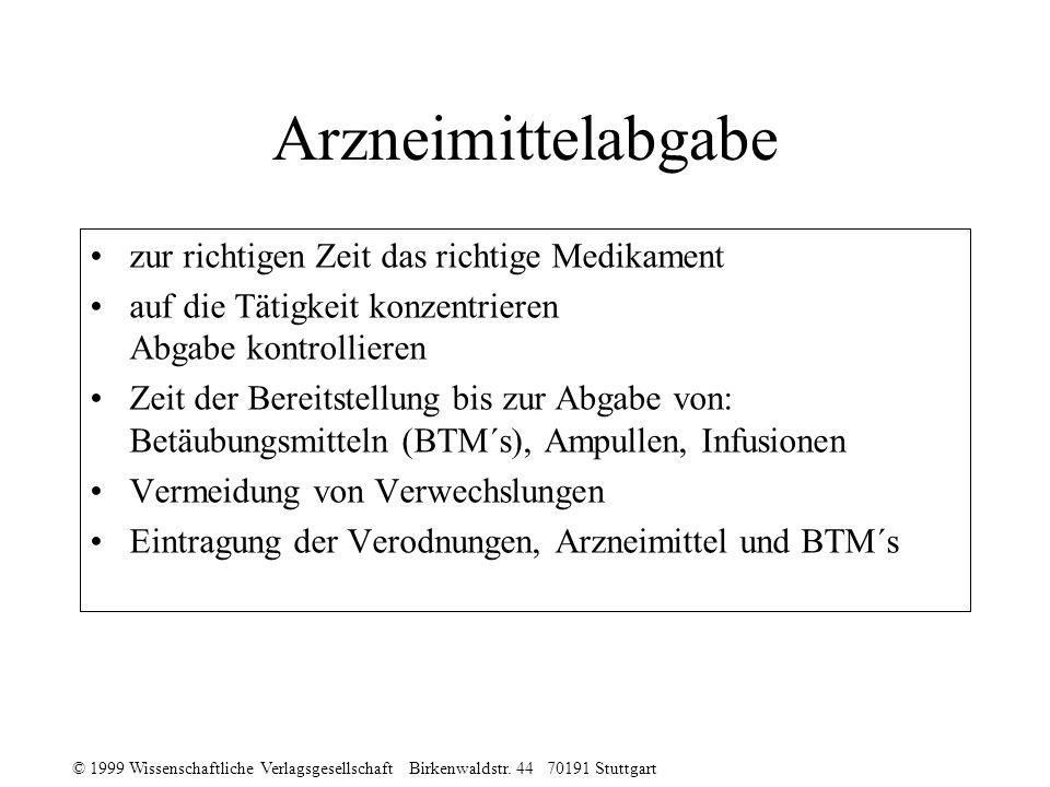 © 1999 Wissenschaftliche Verlagsgesellschaft Birkenwaldstr. 44 70191 Stuttgart Arzneimittelabgabe zur richtigen Zeit das richtige Medikament auf die T