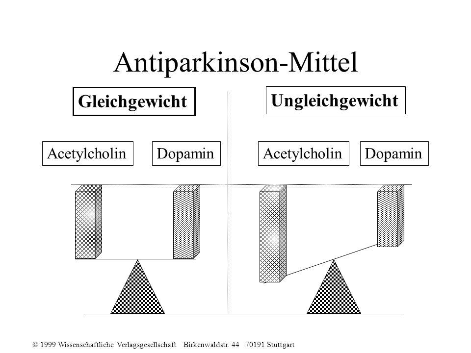 © 1999 Wissenschaftliche Verlagsgesellschaft Birkenwaldstr. 44 70191 Stuttgart Antiparkinson-Mittel Acetylcholin Dopamin Gleichgewicht Ungleichgewicht