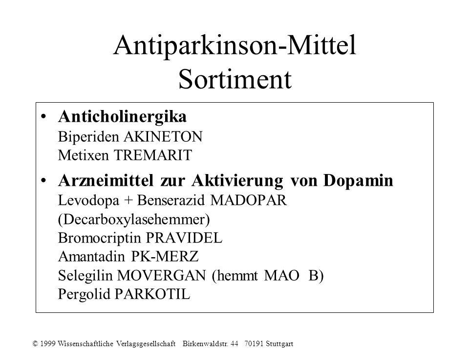 © 1999 Wissenschaftliche Verlagsgesellschaft Birkenwaldstr. 44 70191 Stuttgart Antiparkinson-Mittel Sortiment Anticholinergika Biperiden AKINETON Meti