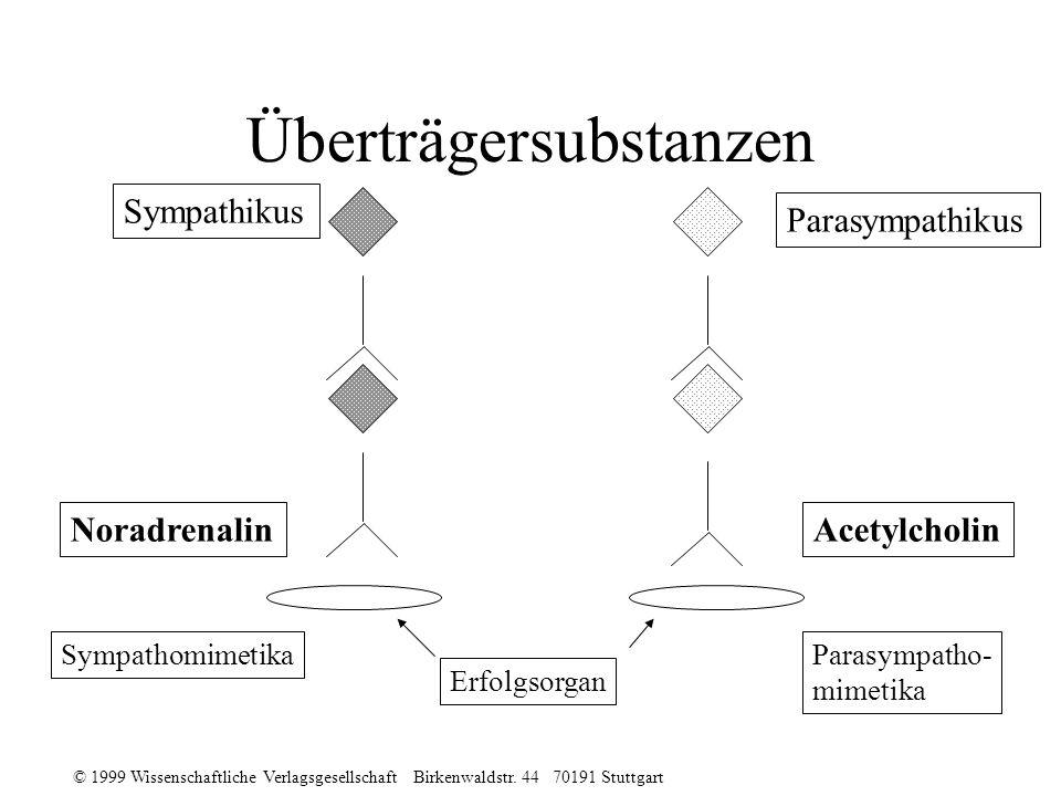 © 1999 Wissenschaftliche Verlagsgesellschaft Birkenwaldstr. 44 70191 Stuttgart Überträgersubstanzen Sympathikus Parasympathikus NoradrenalinAcetylchol