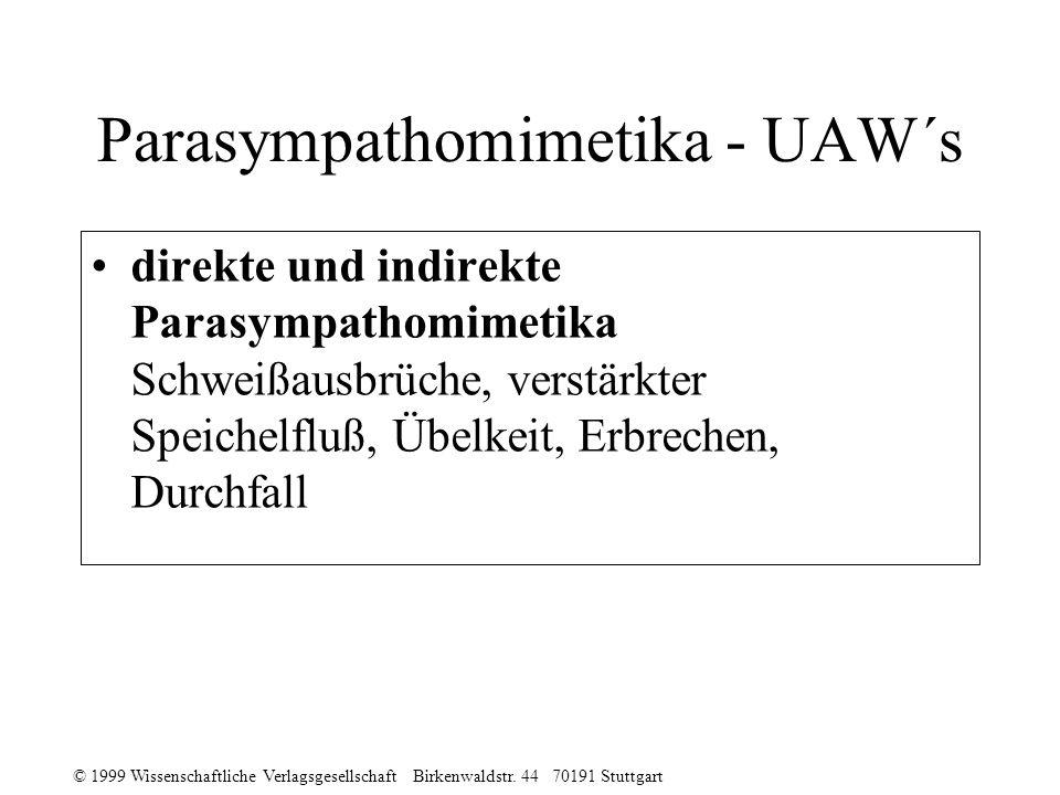 © 1999 Wissenschaftliche Verlagsgesellschaft Birkenwaldstr. 44 70191 Stuttgart Parasympathomimetika - UAW´s direkte und indirekte Parasympathomimetika