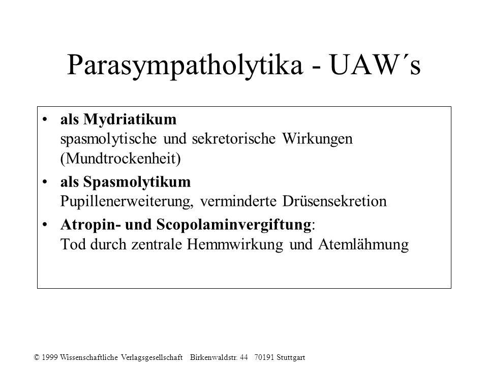 © 1999 Wissenschaftliche Verlagsgesellschaft Birkenwaldstr. 44 70191 Stuttgart Parasympatholytika - UAW´s als Mydriatikum spasmolytische und sekretori