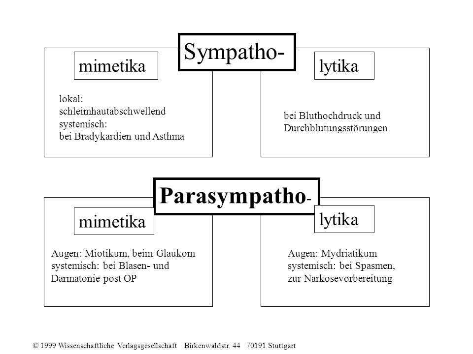 © 1999 Wissenschaftliche Verlagsgesellschaft Birkenwaldstr. 44 70191 Stuttgart Parasympatho - mimetika lytika Sympatho- lokal: schleimhautabschwellend