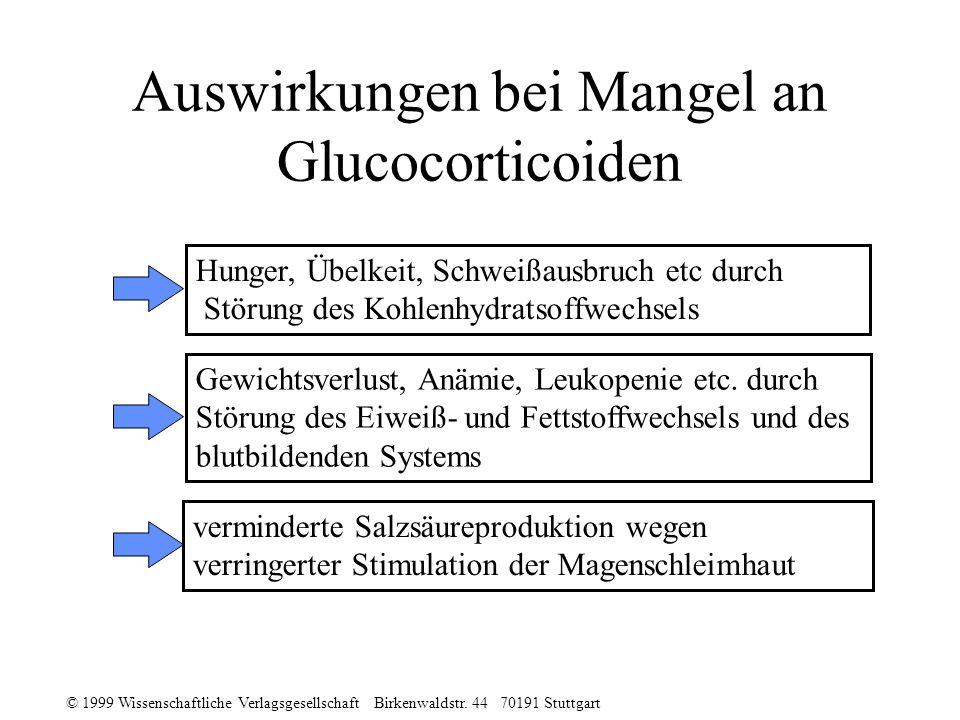 © 1999 Wissenschaftliche Verlagsgesellschaft Birkenwaldstr. 44 70191 Stuttgart Auswirkungen bei Mangel an Glucocorticoiden Hunger, Übelkeit, Schweißau