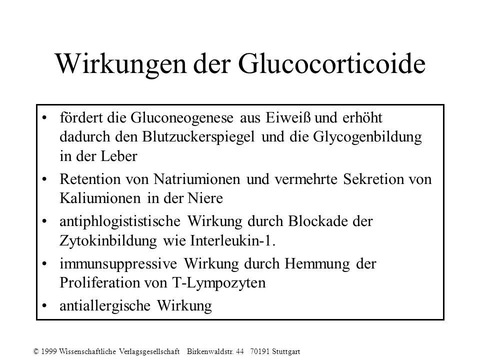 © 1999 Wissenschaftliche Verlagsgesellschaft Birkenwaldstr. 44 70191 Stuttgart Wirkungen der Glucocorticoide fördert die Gluconeogenese aus Eiweiß und
