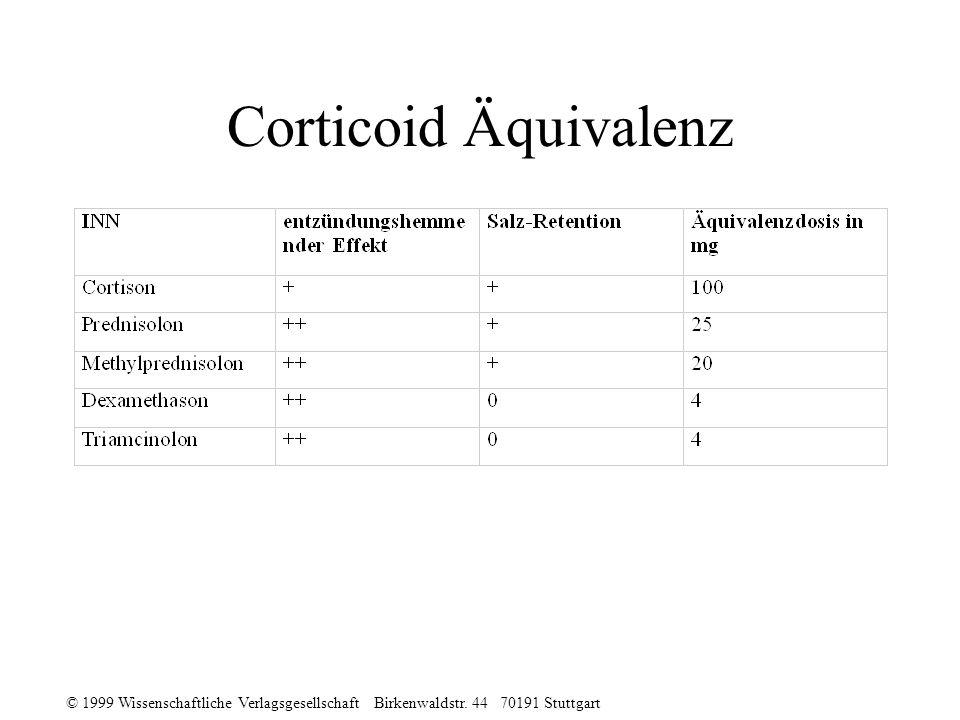 © 1999 Wissenschaftliche Verlagsgesellschaft Birkenwaldstr. 44 70191 Stuttgart Corticoid Äquivalenz