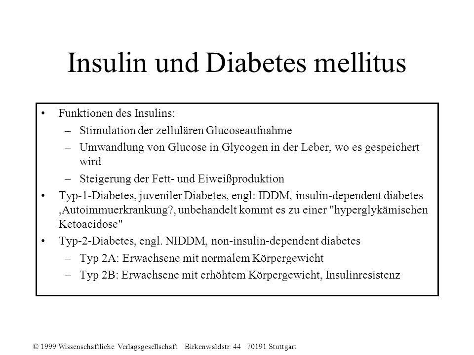 © 1999 Wissenschaftliche Verlagsgesellschaft Birkenwaldstr. 44 70191 Stuttgart Insulin und Diabetes mellitus Funktionen des Insulins: –Stimulation der