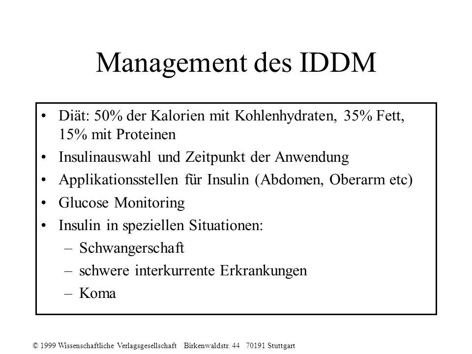 © 1999 Wissenschaftliche Verlagsgesellschaft Birkenwaldstr. 44 70191 Stuttgart Management des IDDM Diät: 50% der Kalorien mit Kohlenhydraten, 35% Fett