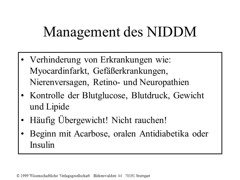 © 1999 Wissenschaftliche Verlagsgesellschaft Birkenwaldstr. 44 70191 Stuttgart Management des NIDDM Verhinderung von Erkrankungen wie: Myocardinfarkt,