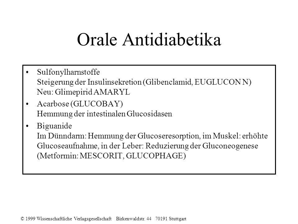 © 1999 Wissenschaftliche Verlagsgesellschaft Birkenwaldstr. 44 70191 Stuttgart Orale Antidiabetika Sulfonylharnstoffe Steigerung der Insulinsekretion