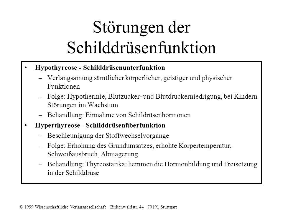 © 1999 Wissenschaftliche Verlagsgesellschaft Birkenwaldstr. 44 70191 Stuttgart Störungen der Schilddrüsenfunktion Hypothyreose - Schilddrüsenunterfunk