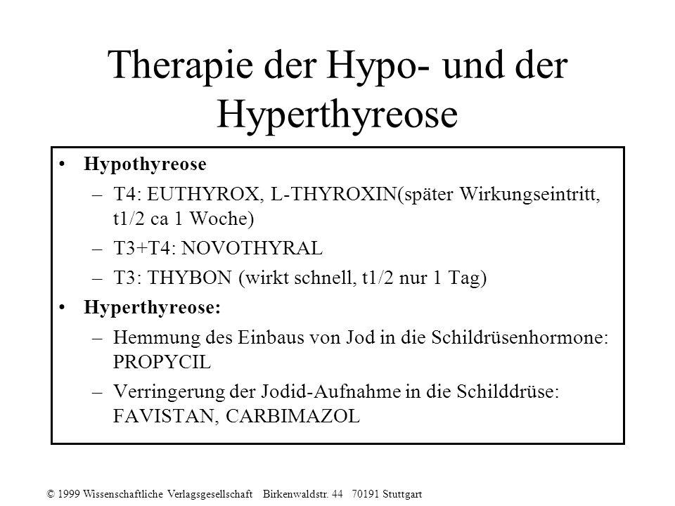 © 1999 Wissenschaftliche Verlagsgesellschaft Birkenwaldstr. 44 70191 Stuttgart Therapie der Hypo- und der Hyperthyreose Hypothyreose –T4: EUTHYROX, L-