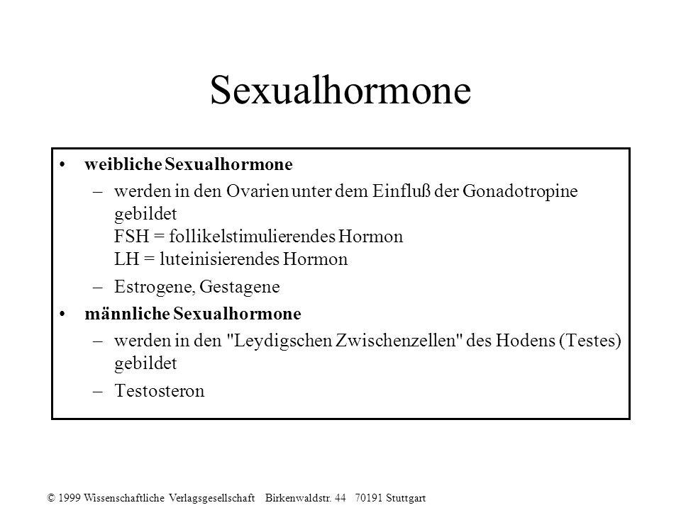 © 1999 Wissenschaftliche Verlagsgesellschaft Birkenwaldstr. 44 70191 Stuttgart Sexualhormone weibliche Sexualhormone –werden in den Ovarien unter dem