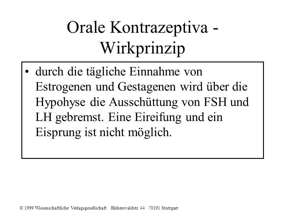 © 1999 Wissenschaftliche Verlagsgesellschaft Birkenwaldstr. 44 70191 Stuttgart Orale Kontrazeptiva - Wirkprinzip durch die tägliche Einnahme von Estro