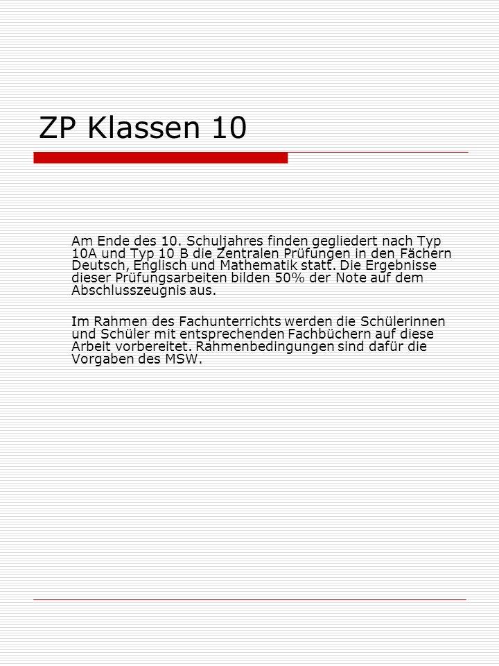 ZP Klassen 10 Am Ende des 10.