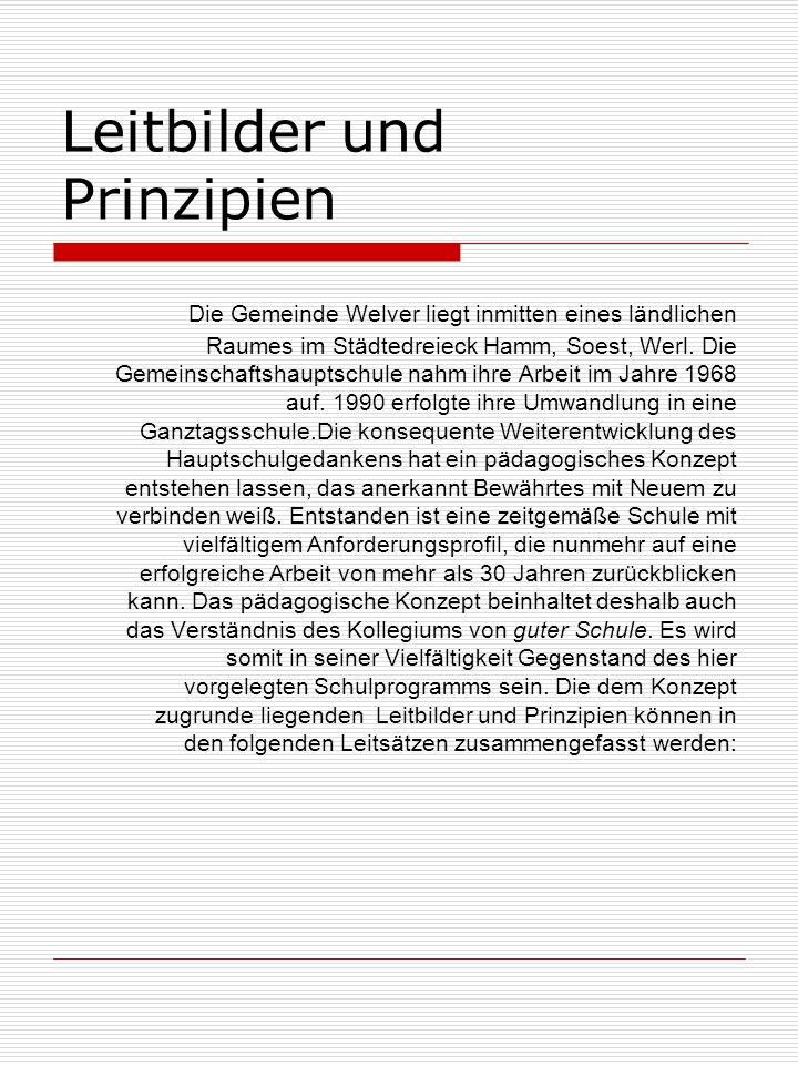 Leitbilder und Prinzipien Die Gemeinde Welver liegt inmitten eines ländlichen Raumes im Städtedreieck Hamm, Soest, Werl.