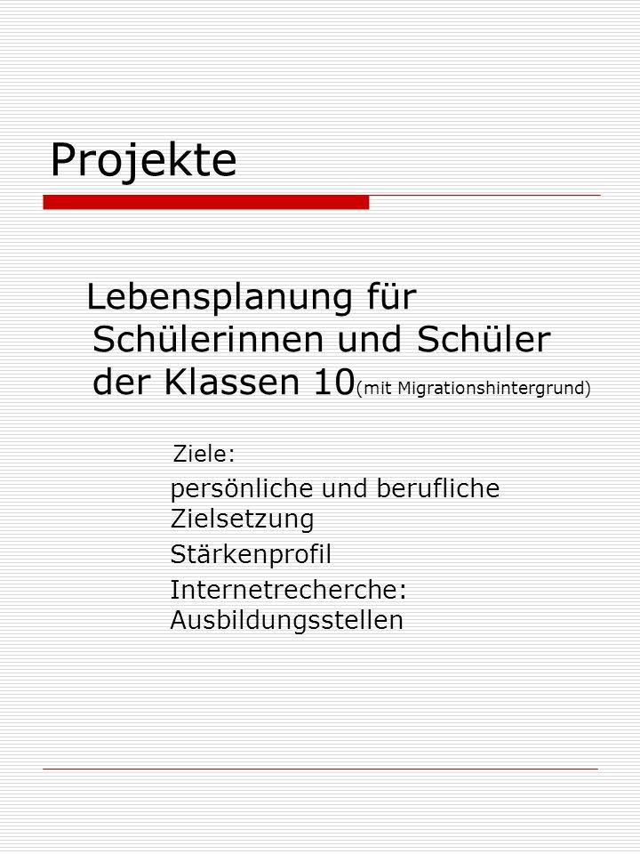 Projekte Lebensplanung für Schülerinnen und Schüler der Klassen 10 (mit Migrationshintergrund) Ziele: persönliche und berufliche Zielsetzung Stärkenprofil Internetrecherche: Ausbildungsstellen