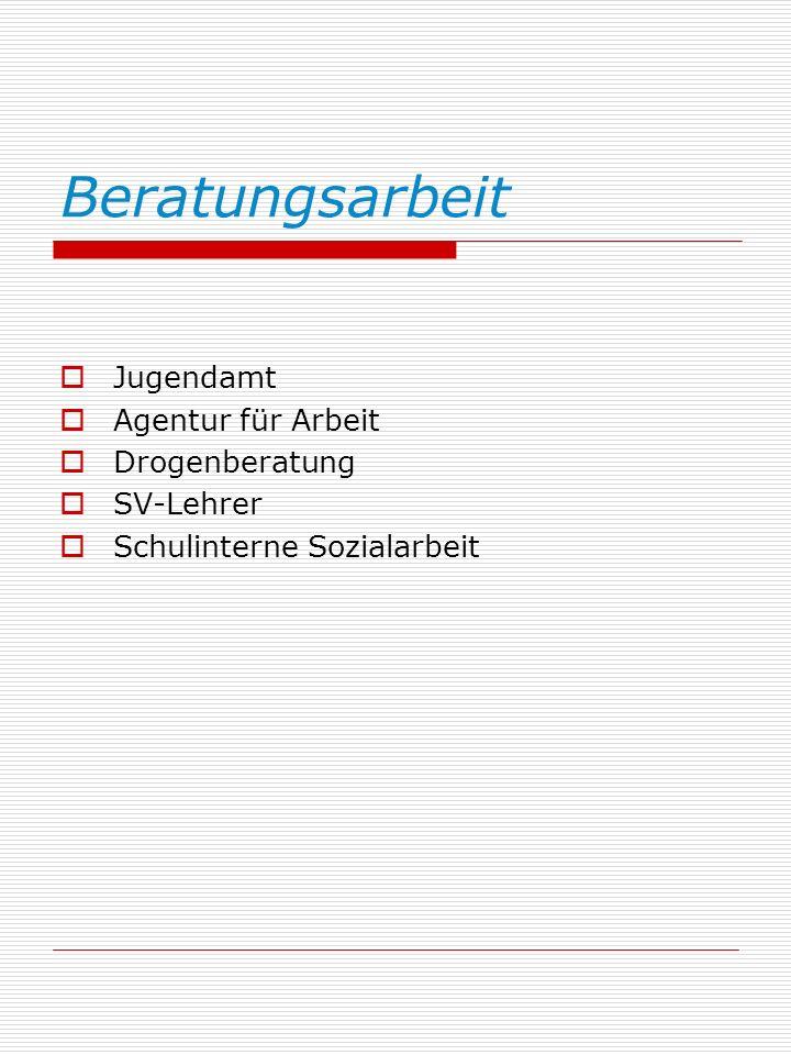 Beratungsarbeit Jugendamt Agentur für Arbeit Drogenberatung SV-Lehrer Schulinterne Sozialarbeit