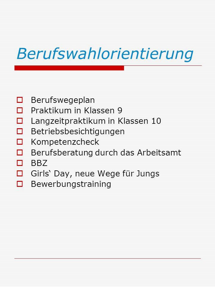 Berufswahlorientierung Berufswegeplan Praktikum in Klassen 9 Langzeitpraktikum in Klassen 10 Betriebsbesichtigungen Kompetenzcheck Berufsberatung durch das Arbeitsamt BBZ Girls Day, neue Wege für Jungs Bewerbungstraining