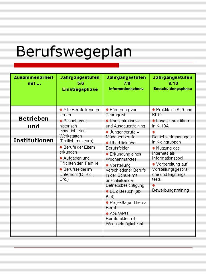 Berufswegeplan Zusammenarbeit mit...