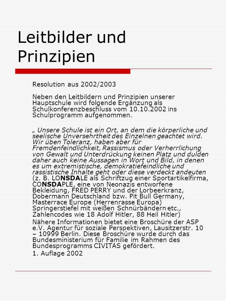 Leitbilder und Prinzipien Resolution aus 2002/2003 Neben den Leitbildern und Prinzipien unserer Hauptschule wird folgende Ergänzung als Schulkonferenzbeschluss vom 10.10.2002 ins Schulprogramm aufgenommen.
