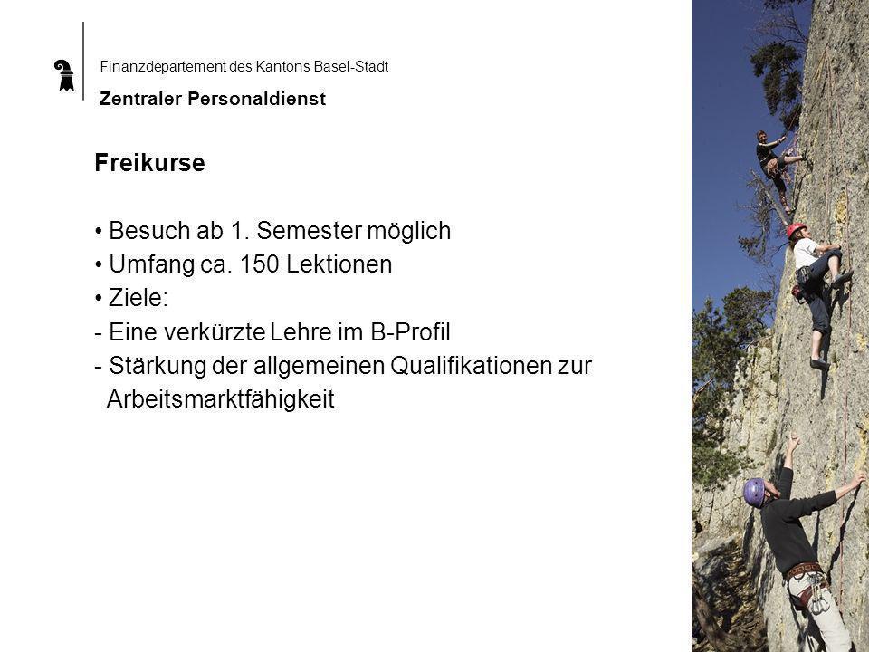 Finanzdepartement des Kantons Basel-Stadt Zentraler Personaldienst Freikurse Besuch ab 1.