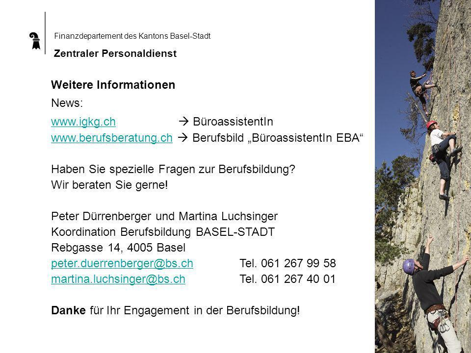 Finanzdepartement des Kantons Basel-Stadt Zentraler Personaldienst Weitere Informationen News: www.igkg.ch BüroassistentIn www.igkg.ch www.berufsberatung.chwww.berufsberatung.ch Berufsbild BüroassistentIn EBA Haben Sie spezielle Fragen zur Berufsbildung.
