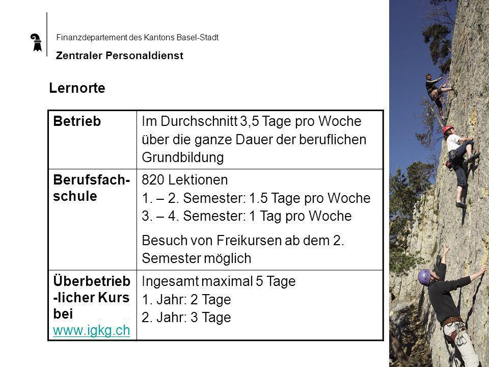 Finanzdepartement des Kantons Basel-Stadt Zentraler Personaldienst Lernorte Betrieb Im Durchschnitt 3,5 Tage pro Woche über die ganze Dauer der beruflichen Grundbildung Berufsfach- schule 820 Lektionen 1.